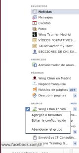 Agregar grupos y páginas a favoritos deFacebook